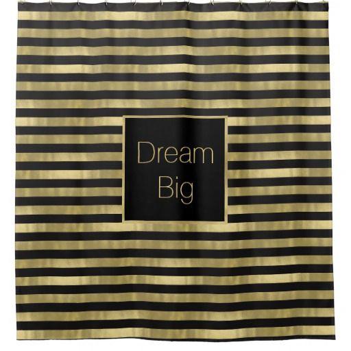 Chic Gold And Black Stripes Dream Big Personalized Shower Curtain Zazzle Com Dream Big Stripes Black Stripes