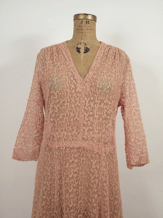 1930s Lace Dress / 30s Pink Dress by FemaleHysteria on Etsy, $140.00