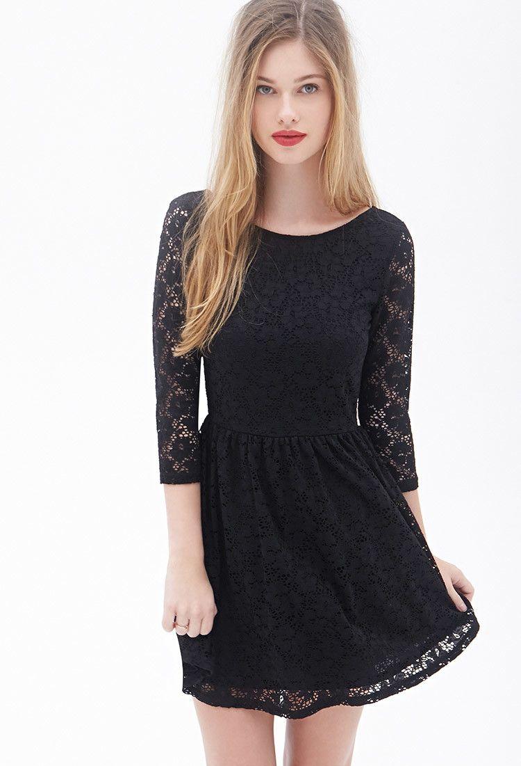 bb7e5458686 Floral Crochet Fit   Flare Dress