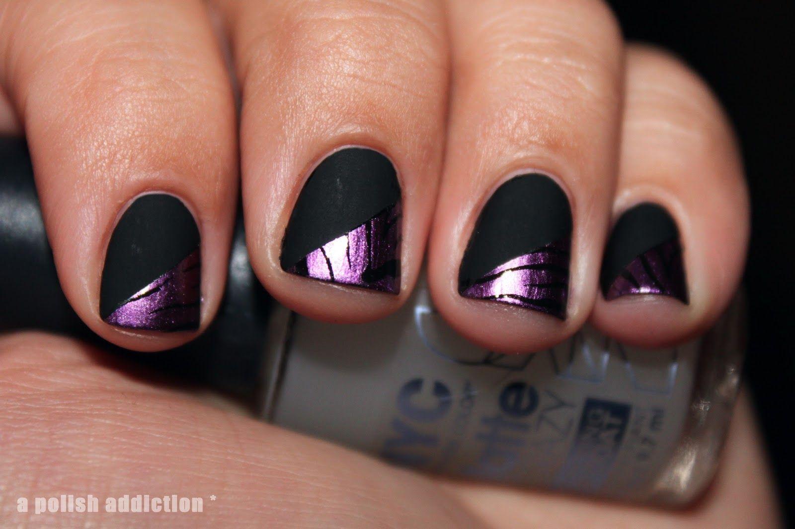 Black matte nails with a purple zebra design i might like a ...