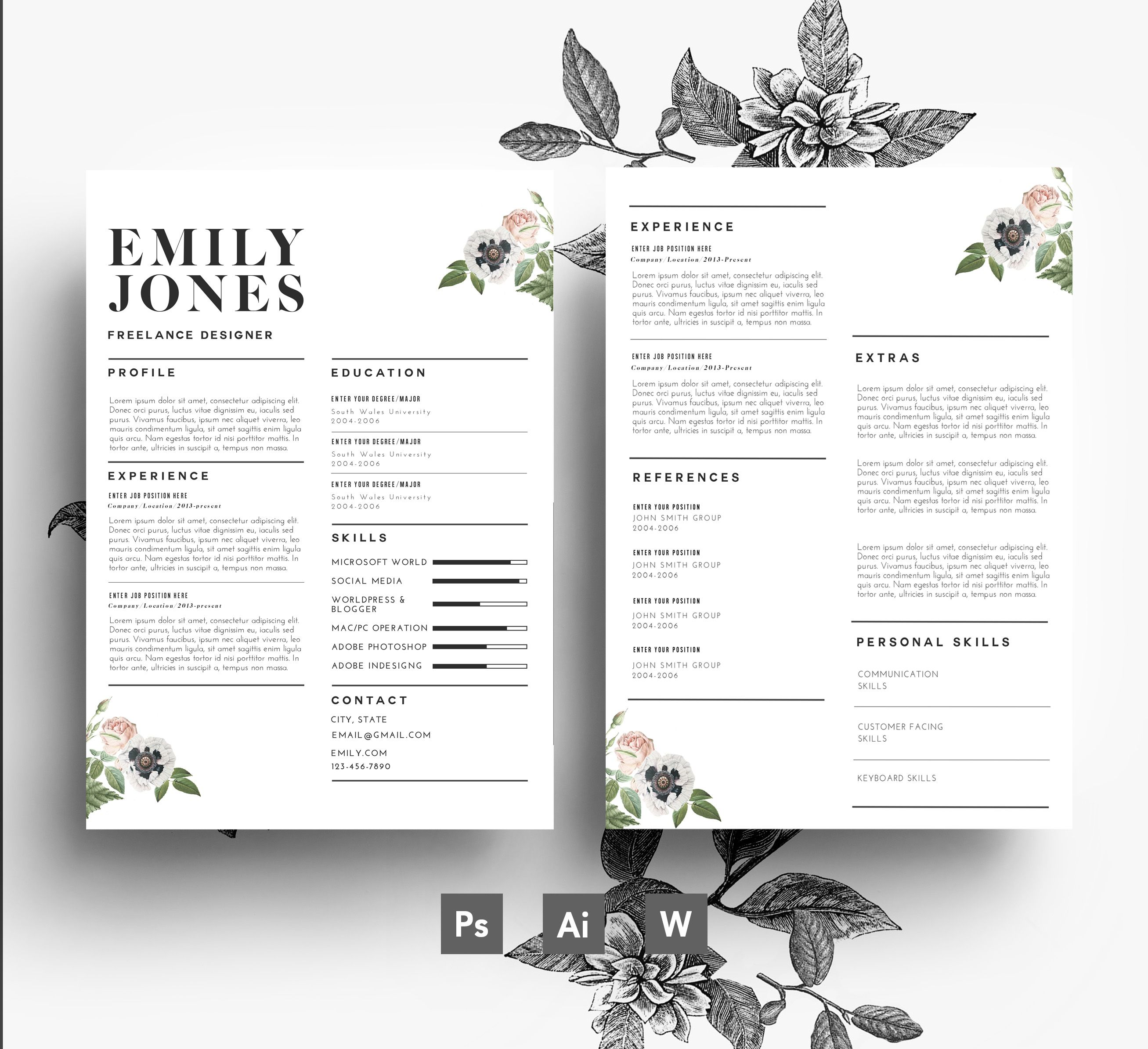 Modern resume and cover letter template | Flower Resumes | Pinterest ...