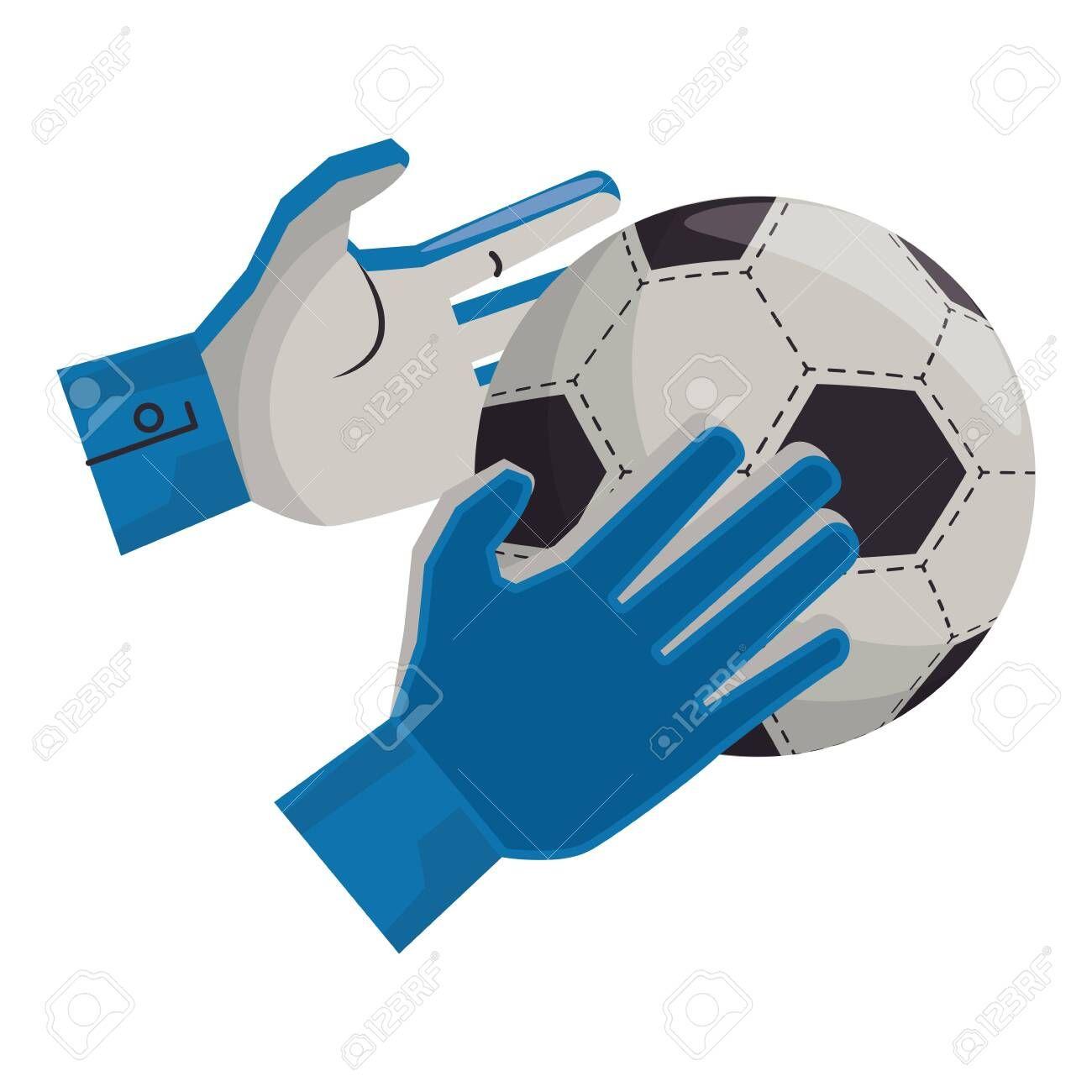 Soccer Football Sport Game Goalkeeper Gloves Holding Ball Vector Illustration Graphic Design Illustration Ad Game Soccer Goalkeeper Gloves Sports Games