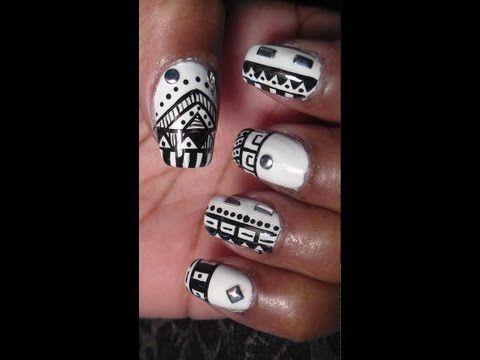 Black And White Tribal Nail Art Youtube Setu Vision Board