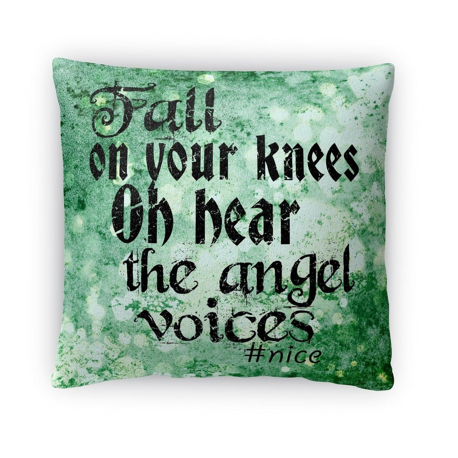 Kavka designs green oh hear fleece throw pillow christmas rustic