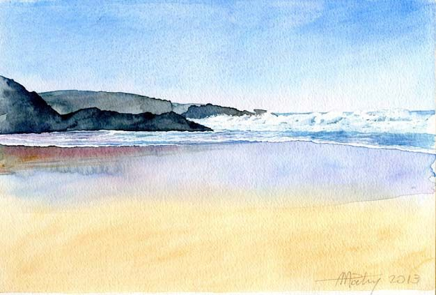 Anne Marie Patry Belluteau Watercolor Paysage Marin Paysage