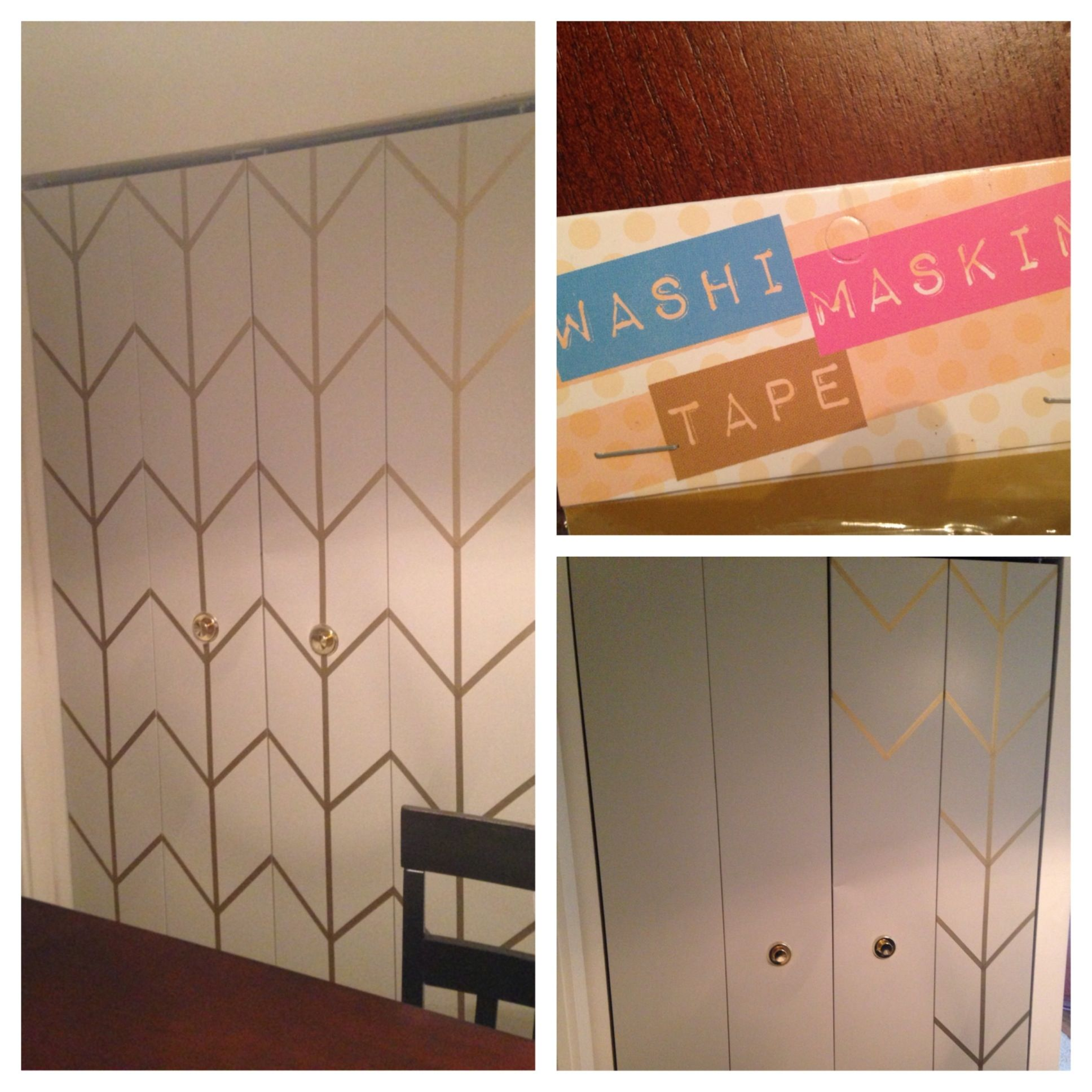chevron patterned door with washi tape