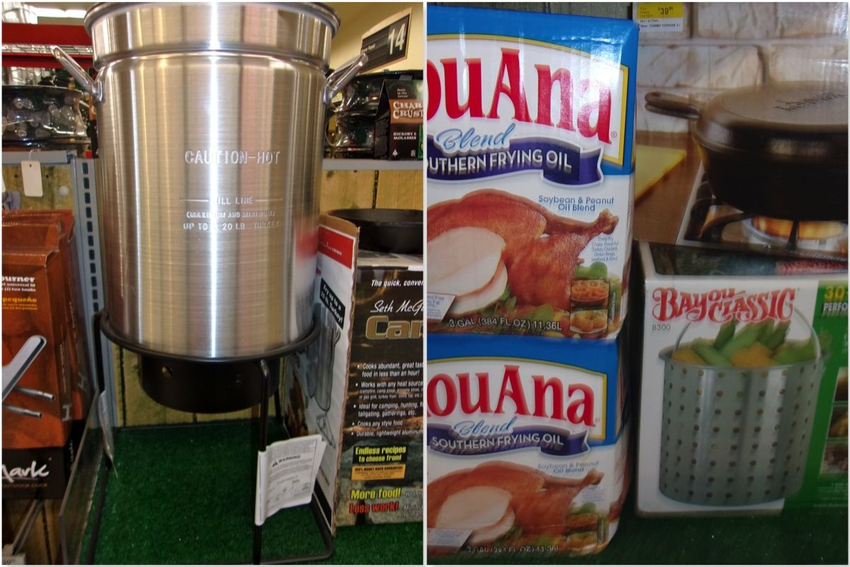 We've got all of your turkey frying supplies including the 'good' oil from down south.
