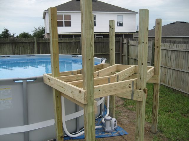 My intex 16x48 with custom deck and stairs diy pools - Custom above ground pool ...
