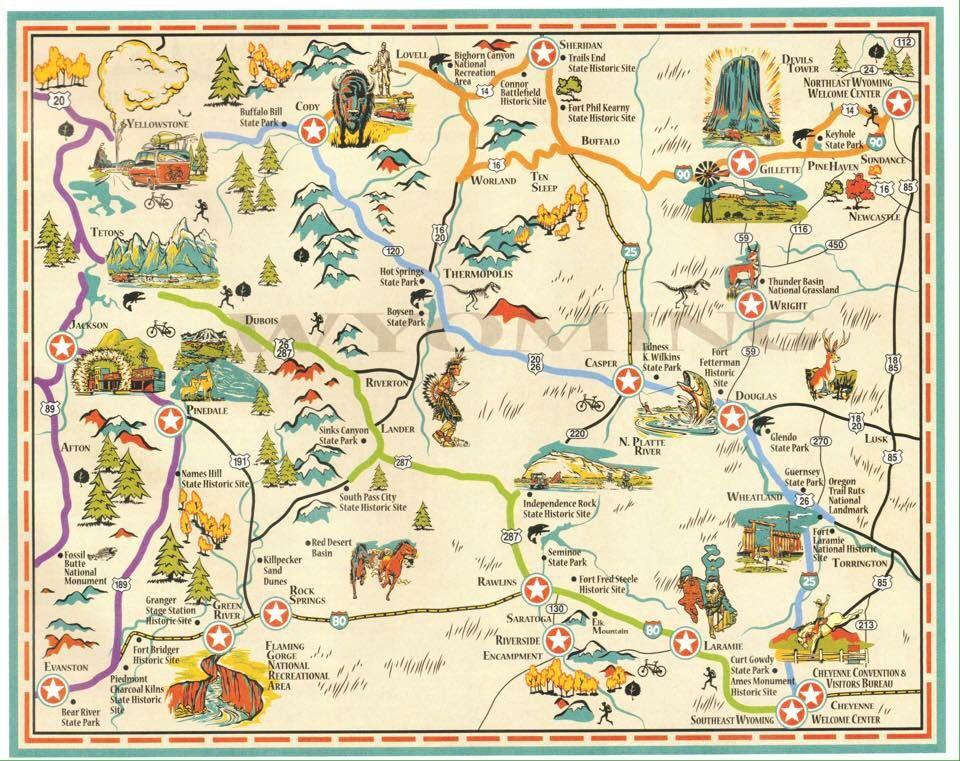 Map Of Wyoming Wyoming Wyoming Road Trip Jackson Hole Map