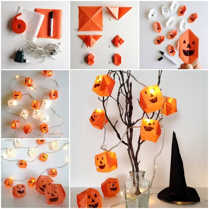 Make an origami jack o\u0027 lantern light string THE GREAT PUMPKIN - halloween decorations for kids to make