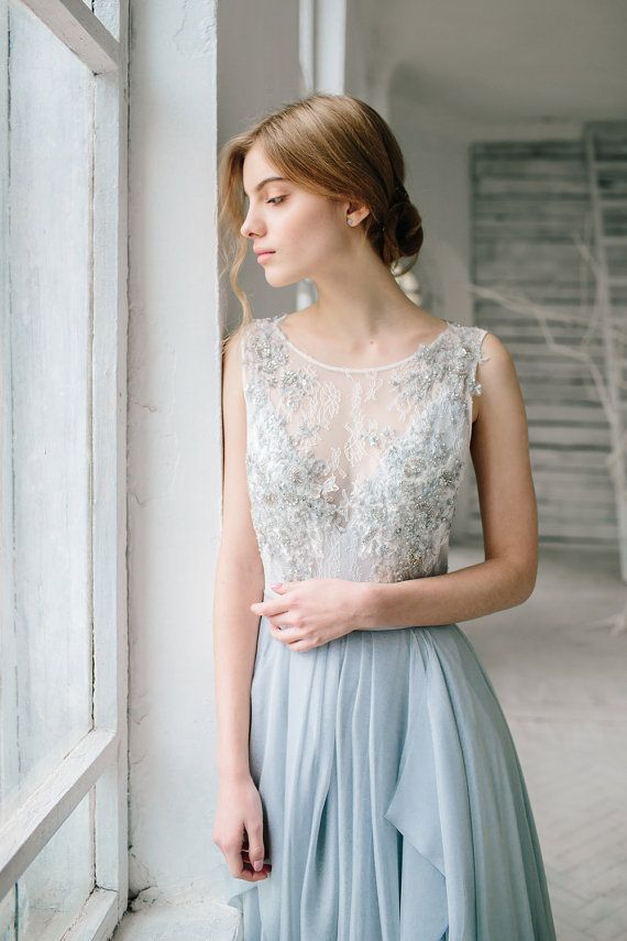 Silver grey wedding dress // Lobelia / Silk bridal gown, open back ...