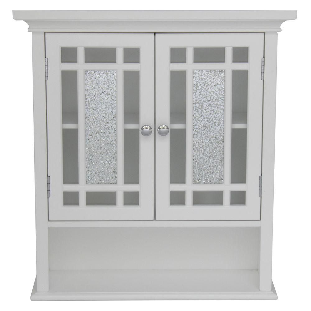 White Bathroom Wall Cabinet With Gl Doors