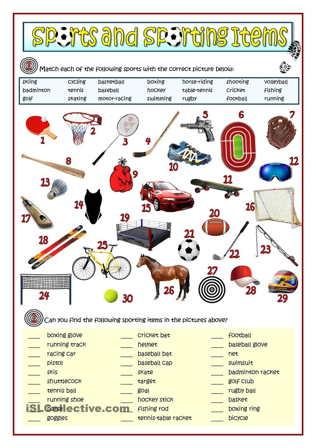SPORTS AND SPORTING ITEMS | sports and hobbies | Pinterest ...