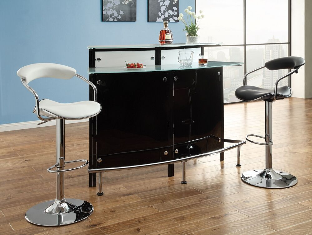 Home Bar Unit Modern Style Black And Chrome Finish Metal Curved Front With Tempered