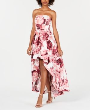 3361053eed3 Speechless Juniors  Floral Strapless High-Low Gown - Pink 5 ...