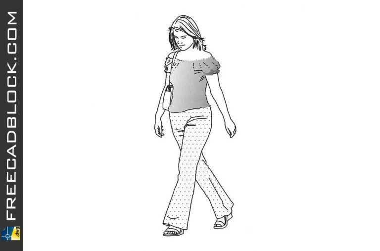 Girl in casual summer suit DWG Drawing. Free download in