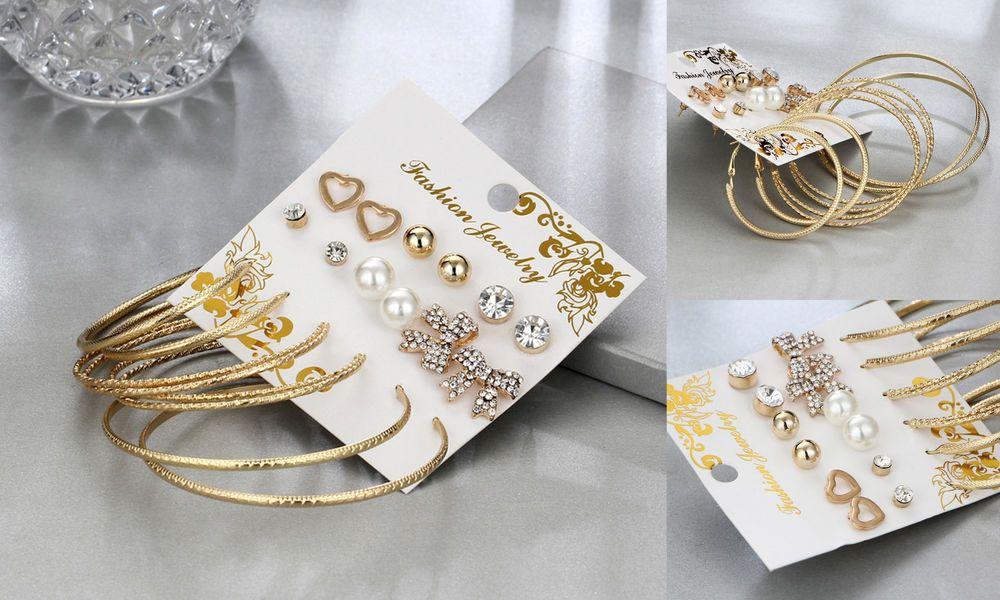 Uk 9 Pairs Set Gold Hoop Dangle Pearl Bow Heart Round Stud Earrings Jewellery