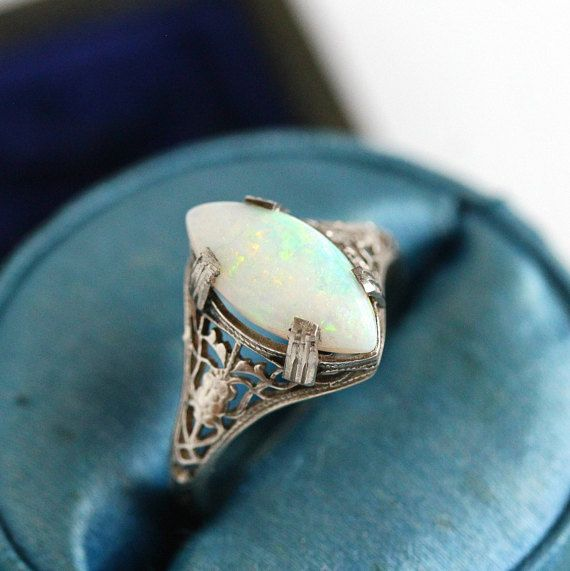 Sale Marquise Opal Ring Antique 10k White Gold Filigree Vintage Size 4 3 4 1920s Art Deco Play Of Color Gem Opal Ring Vintage Art Deco Ring Antique Rings
