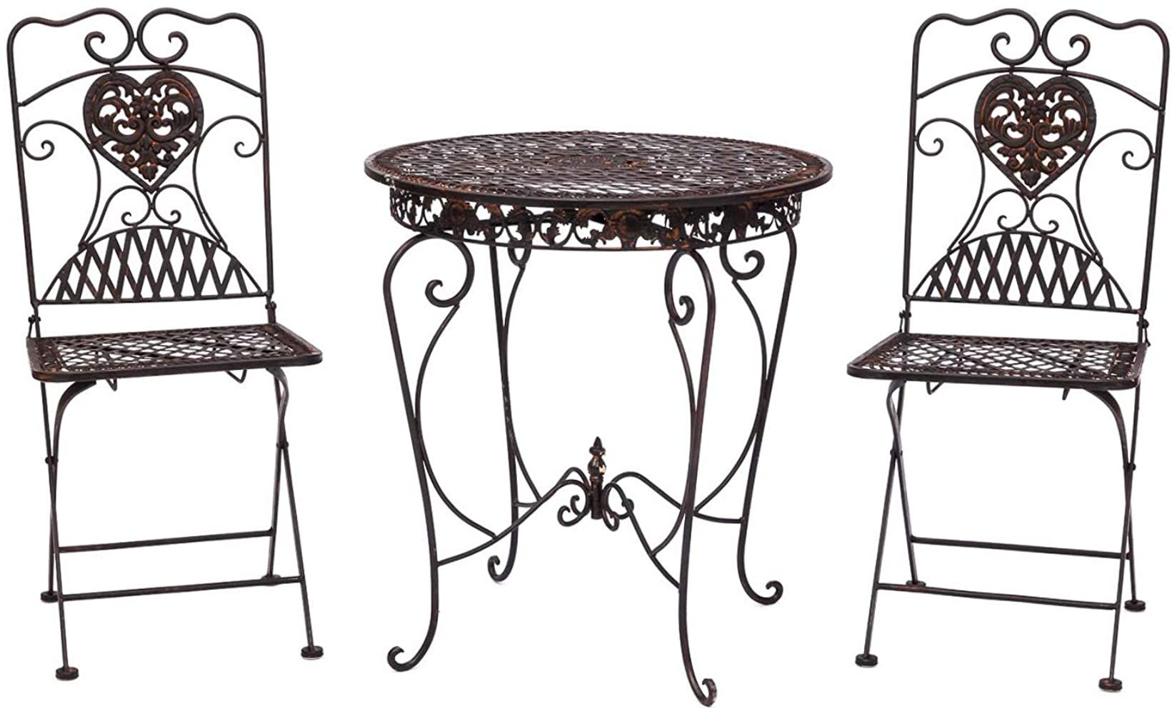 Aubaho Gartentisch 2x Stuhl Eisen Antik Stil Bistromobel