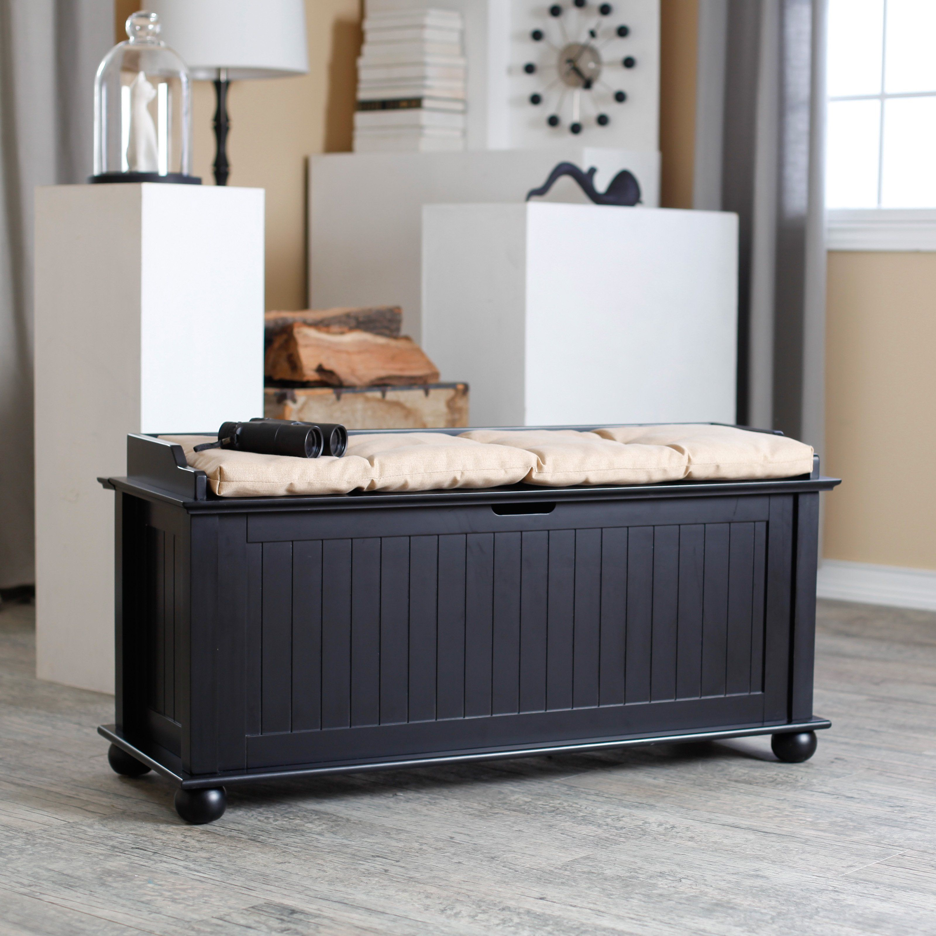 Have To Have It Morgan Traditional Flip Top Storage Bench Black