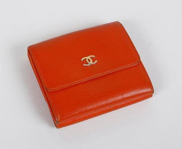 Chanel Petit Porte Monnaie Porte Carte En Cuir Orange Et Porte