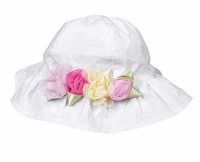 3723a142873bc Kate Mack Girls White Radiant Roses Sun Hat with Pink   Yellow Flowers