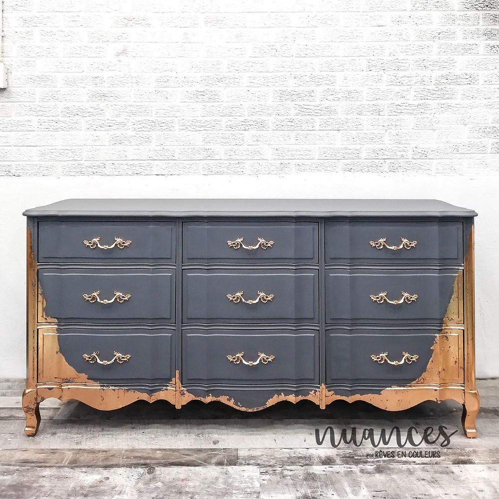 Gray And Copper Dresser Fusion Mineral Paint Soapstone With Copper Leaf By Julie Naima Nuances Chalk Paint Furniture Furniture Makeover Flipping Furniture
