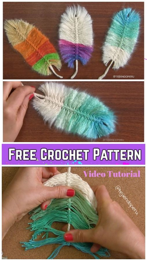 Diy Macrame Feather With Crochet Cord Free Pattern Video