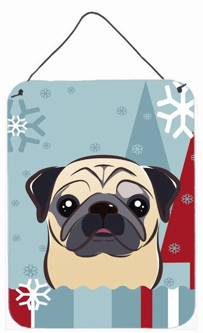 Winter Holiday Fawn Pug Wall or Door Hanging Prints BB1758DS1216