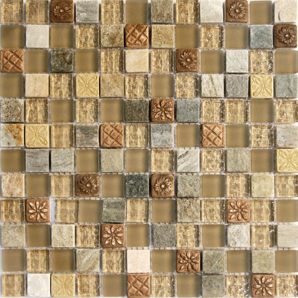 Details about sample natural brown stone glass mosaic tile details about sample natural brown stone glass mosaic tile kitchen backsplash bath wall sink doublecrazyfo Images