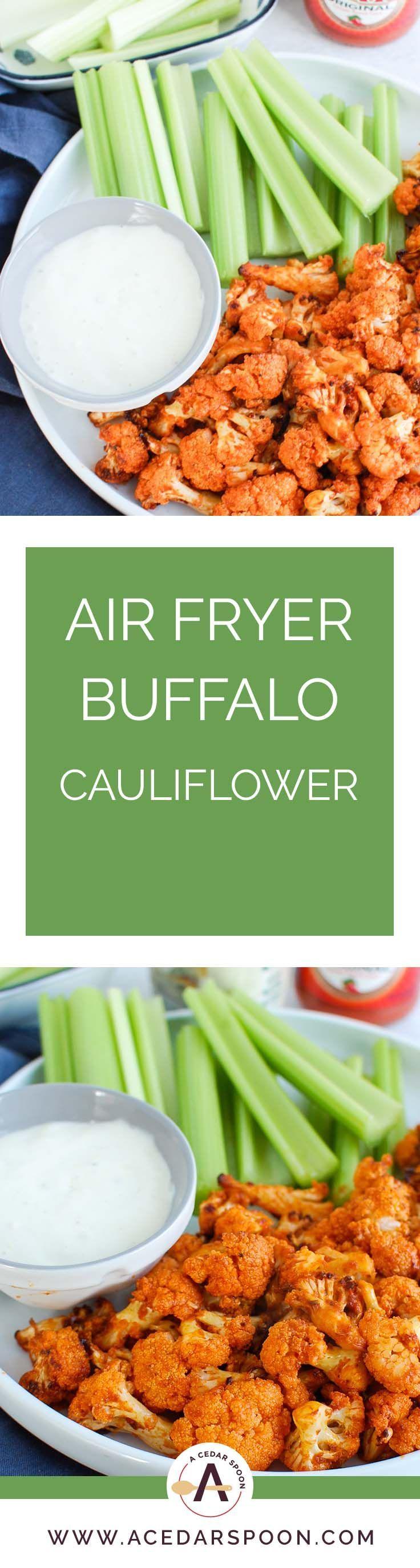 Air Fryer Buffalo Cauliflower Recipe Spicy vegetarian