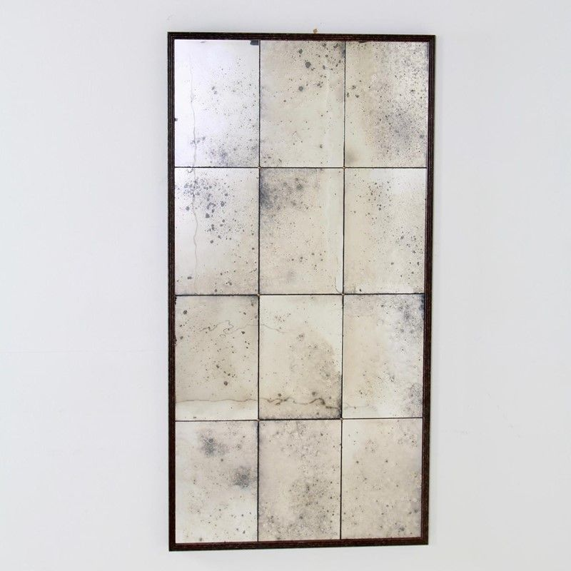 Framed Silvered Antiqued Panelled Foxed Mirror Decorative