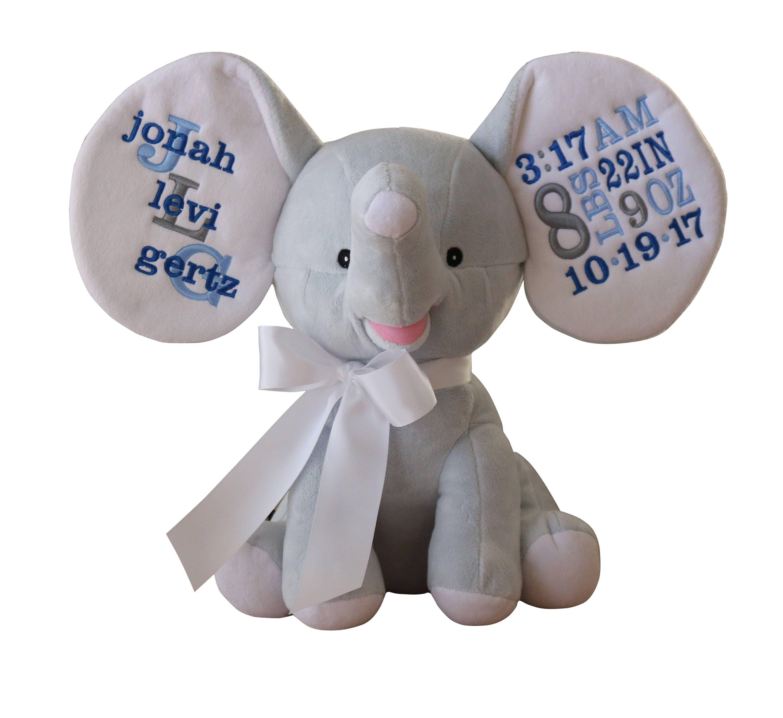 Personalized Stuffed Animal Dumble Elephant Blue Elephant Etsy Personalized Stuffed Animals Birth Announcement Elephant Stuffed Animal