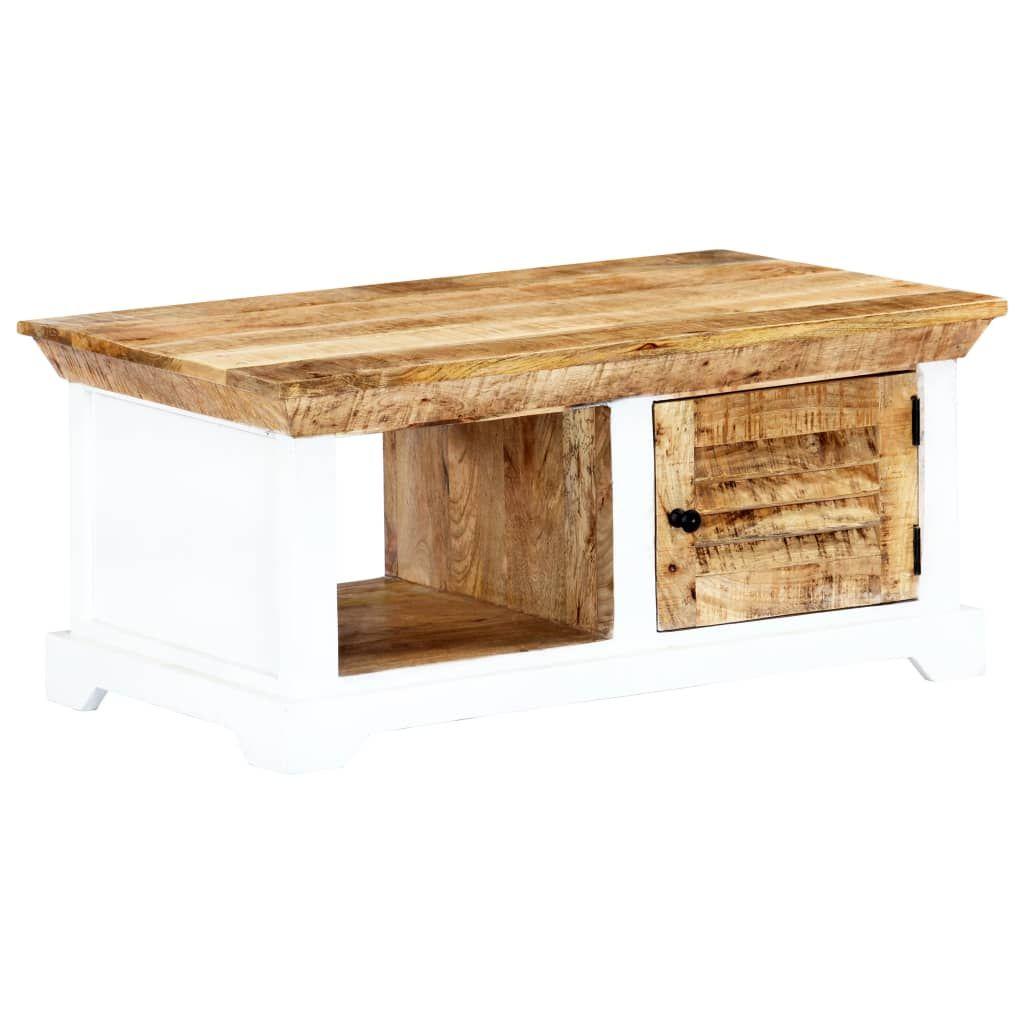 vidaXL Coffee Table White and Brown 90x50x40 cm Raw Wood …