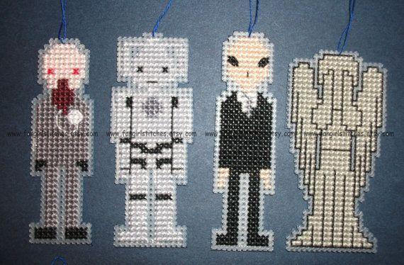 Doctor Who monsters - Christmas Tree decorations by FangirlStitches