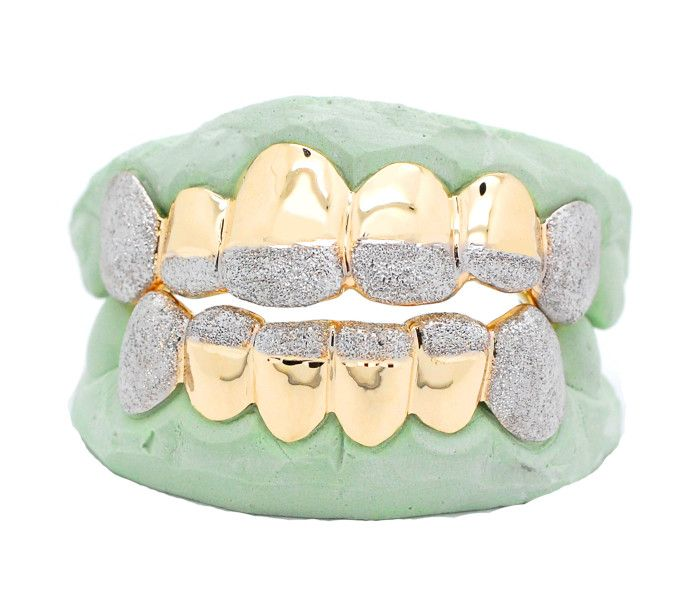 Yellow Gold Two Tone Diamond Dust Tip Grillz Grillz Gold Rings Fashion Silver Grillz