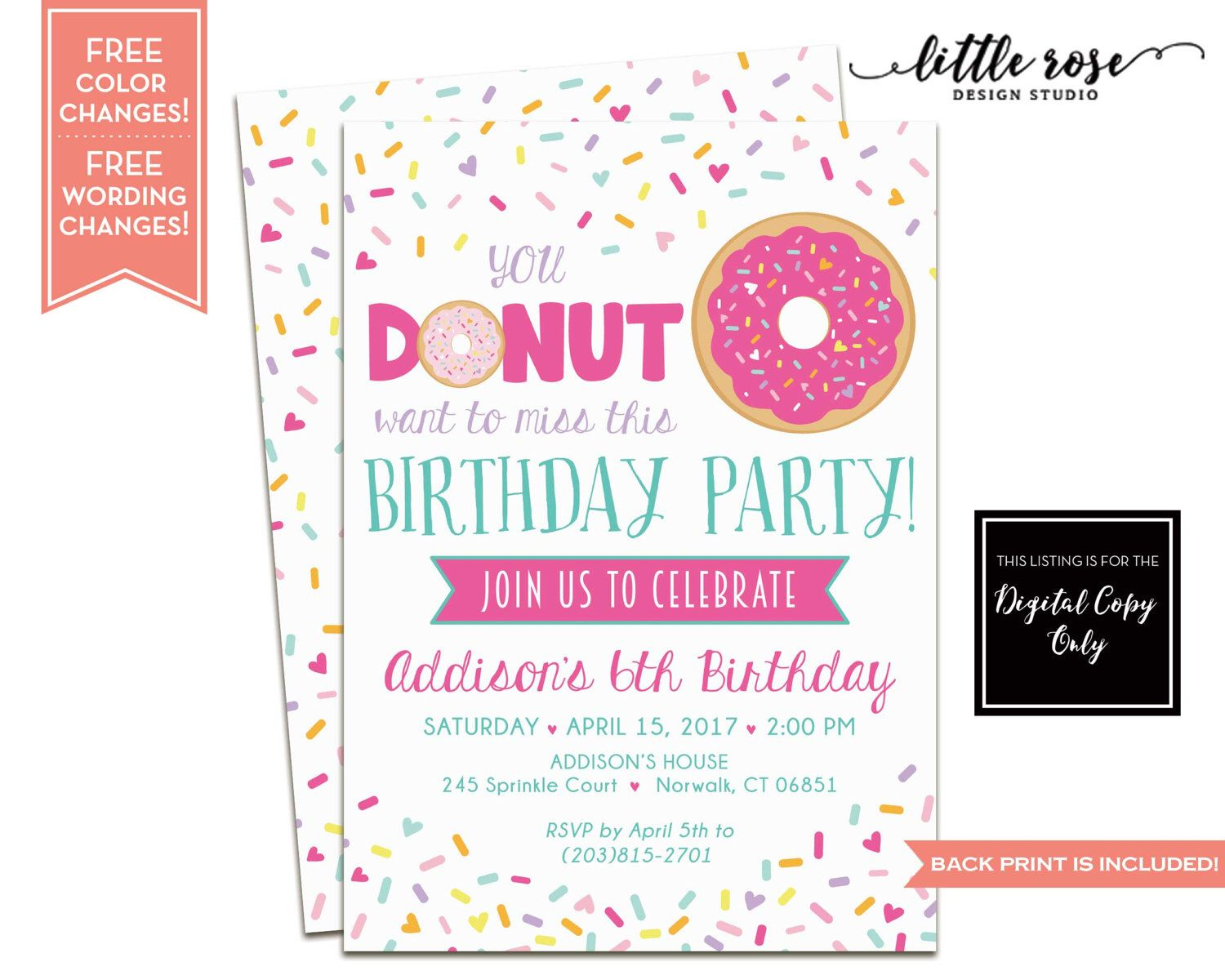 Pin By Little Rose Design Studio On Donut Party Birthday Party