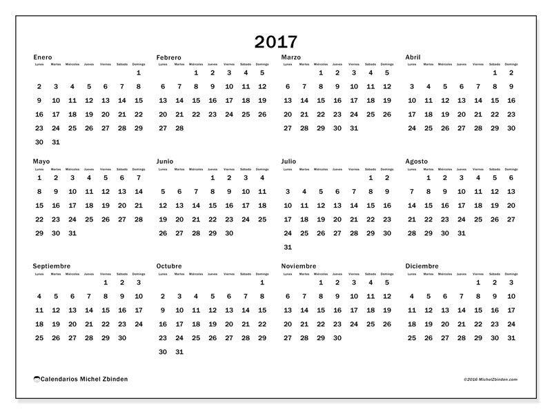 Gratis! Calendarios para 2017 para imprimir | nuria | Pinterest