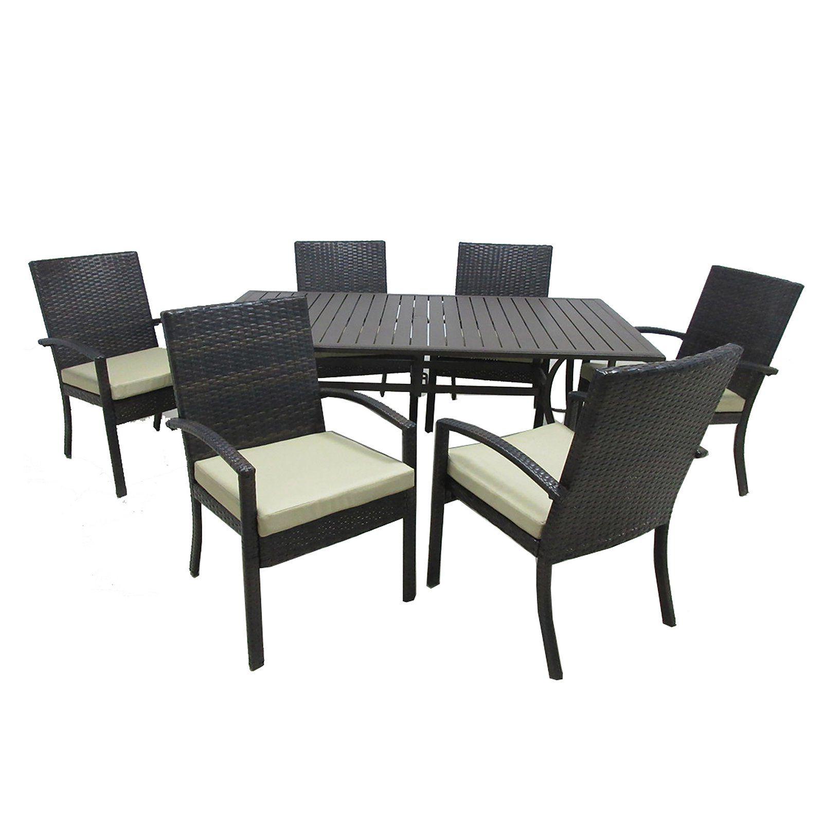 Outdoor Innovation Chelsea Aluminum 7 Piece Rectangle Patio Dining Set 7040s 6d