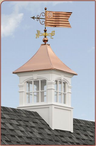 Four Sided Cupola With Copper Roof And American Flag Weathervane Cupolas Copper Roof Cupola Barn Cupola