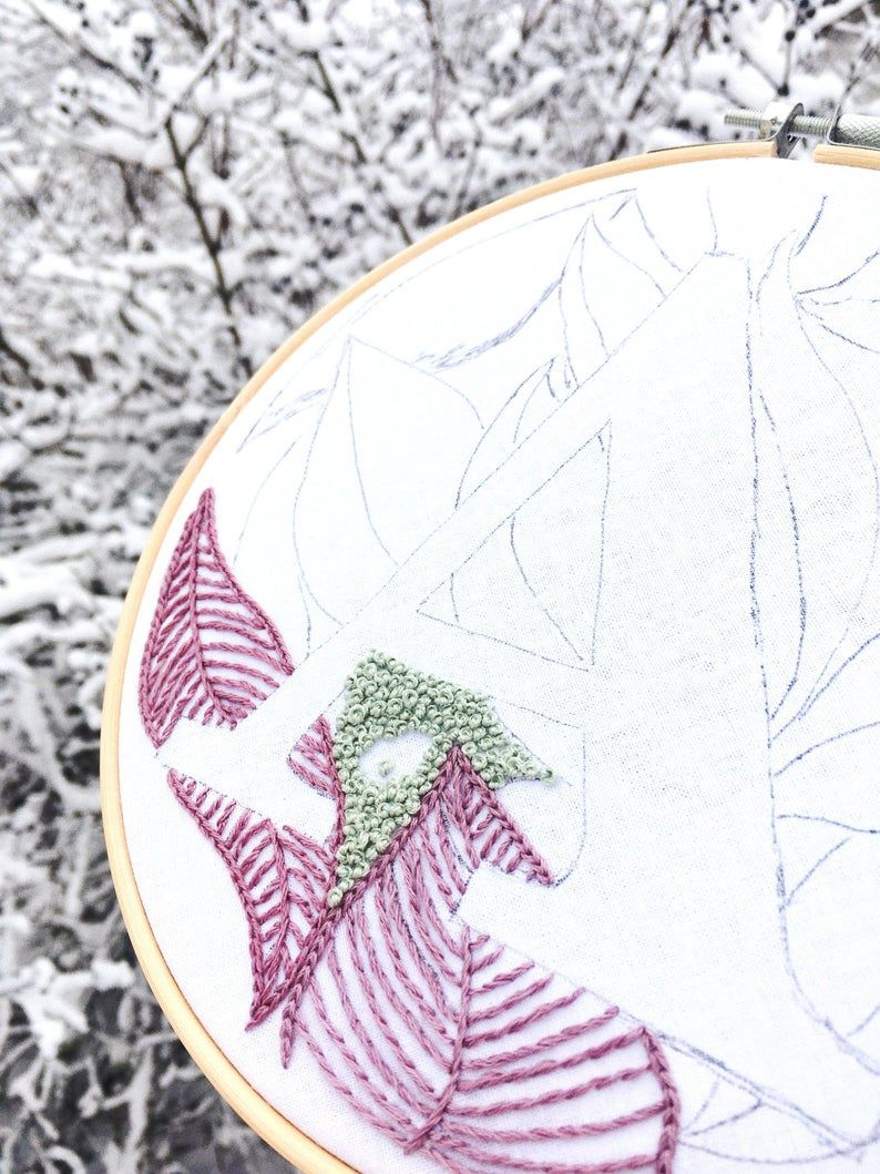 "Botanical Letter ""N""  Hand Embroidery Pattern / Digital PDF Download / Instant Download Floral Hand"
