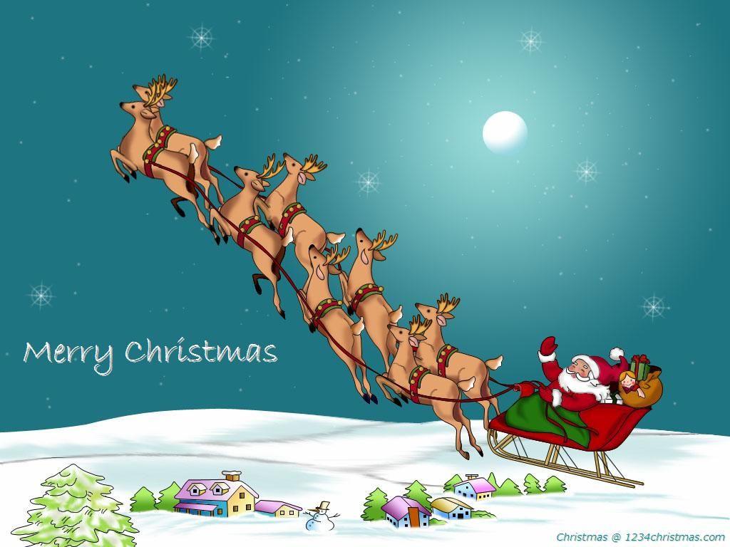 santa claus flying reindeer wallpaper - Santa And The Reindeer