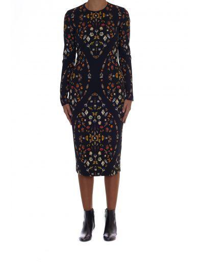 ALEXANDER MCQUEEN Alexander Mcqueen Obsession Print Dress. #alexandermcqueen #cloth #dresses