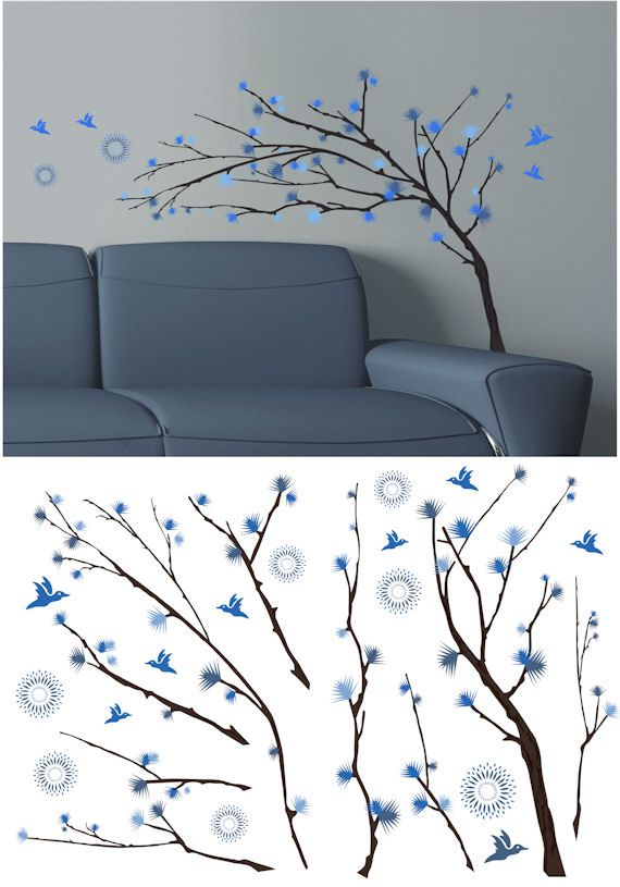 Art Applique Design Branch Two Wall Sticker   Wall Sticker Outlet