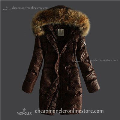 Moncler Down Coats Women Pure Color Hooded In Coffee @ cheapmoncleronlinestore.com