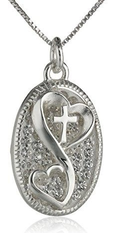 """Sterling Silver Pave Crystal Oval Cross """"Love Grows with Faith"""" Pendant Necklace, 18″"""