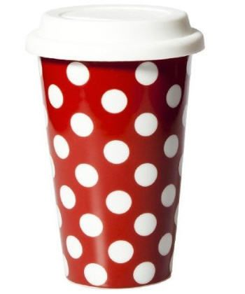 With this red and white polka dot travel mug you can have the ...