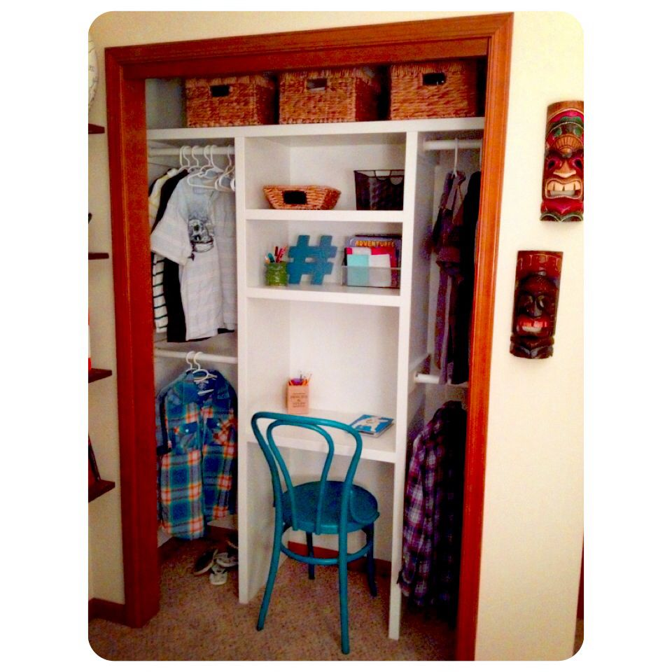 Before Was Your Average Sliding Door Closet My Kids Share A Small Bedroom And Have Little Space Solution With Shelving Desk