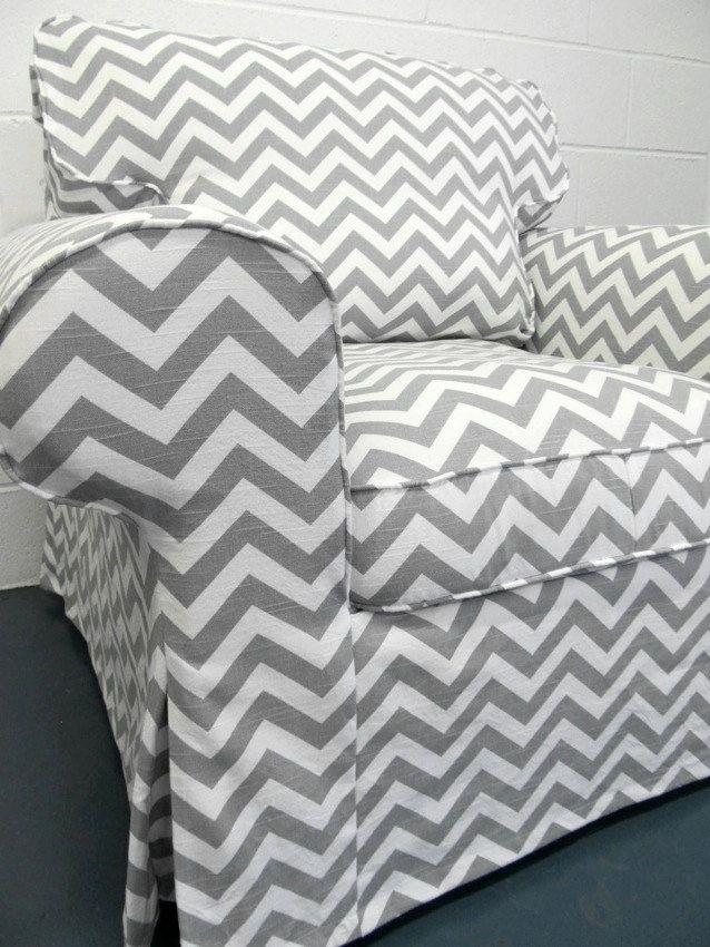 Superbe Custom IKEA Ektorp Armchair Slipcover In Gray Chevron.
