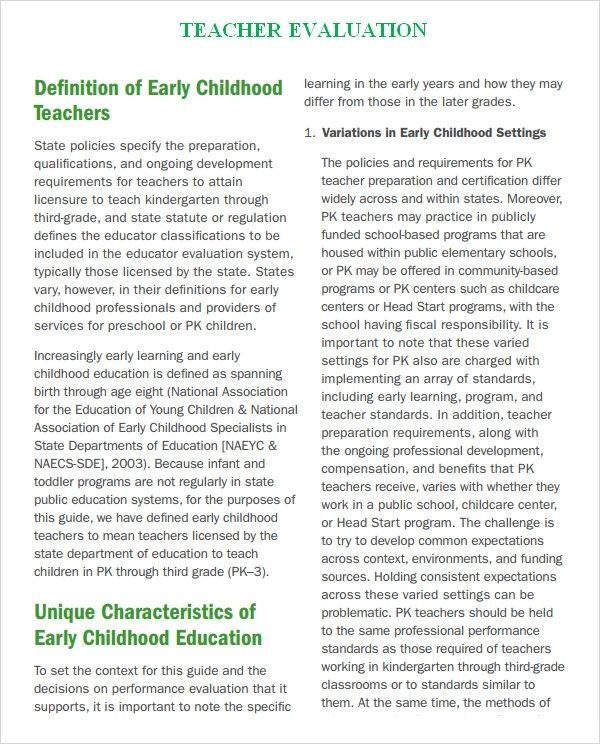 FREE 7+ Teacher Evaluation Samples in MS Word PDF in
